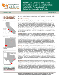 Health Care Coverage and Access for Children in Low-Income ...