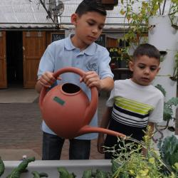 Boys Watering Plants at Growhaus