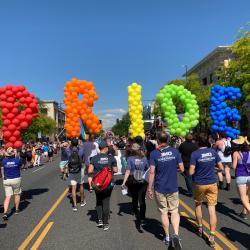 "Balloons spelling ""Pride"" at Denver Pride Parade."