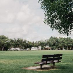 Park bench in Alamosa, Colorado.