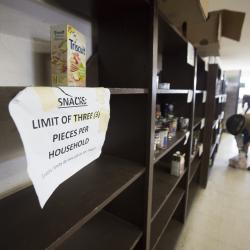 Empty food bank shelves